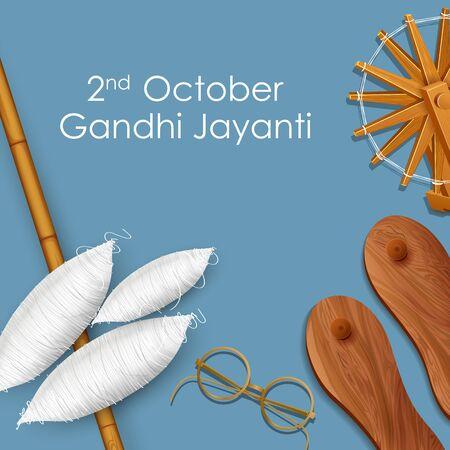 illustration of India background with Nation Hero and Freedom Fighter Mahatma Gandhi for Gandhi Jayanti