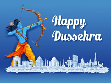 illustration of Lord Rama in Navratri festival of India poster with message in Hindi meaning wishes for Dussehra 向量圖像