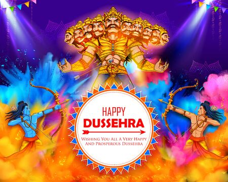 illustration of Lord Rama and Ravana in Dussehra Navratri festival of India poster Ilustrace