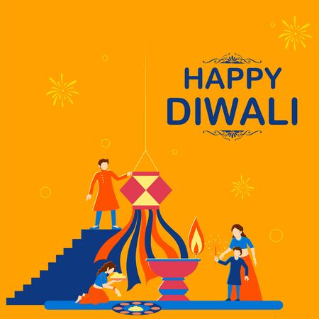 illustration of Indian people celebrating on Happy Diwali Hindu Holiday background for light festival of India Foto de archivo - 131318296