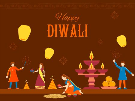 illustration of Indian people celebrating on Happy Diwali Hindu Holiday background for light festival of India Foto de archivo - 131318300