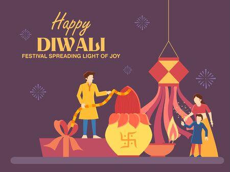 illustration of Indian people celebrating on Happy Diwali Hindu Holiday background for light festival of India Foto de archivo - 131318299