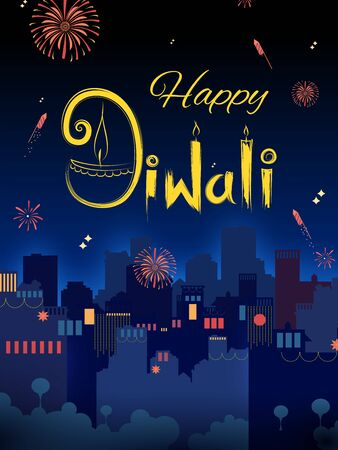 illustration of Firework on Indian cityscape for Happy Diwali Holiday background for light festival of India