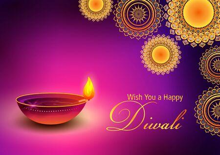 illustration of Burning diya on Happy Diwali Hindu Holiday background for light festival of India