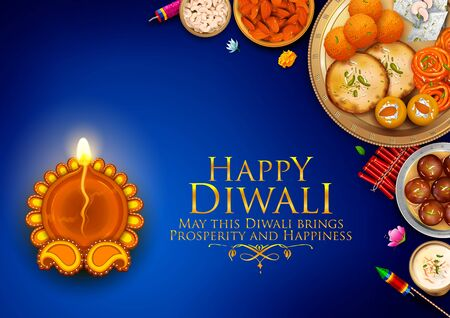illustration of burning diya and Indian Sweet on Happy Diwali Hindu Holiday background for light festival of India Stock Vector - 131317998