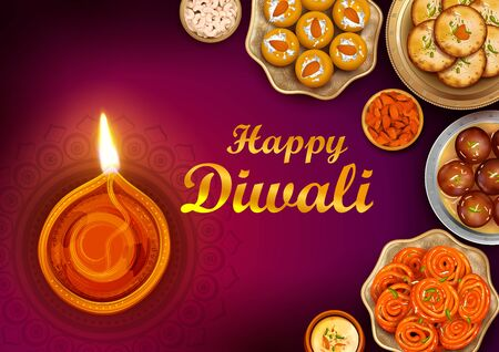 illustration of burning diya and Indian Sweet on Happy Diwali Hindu Holiday background for light festival of India