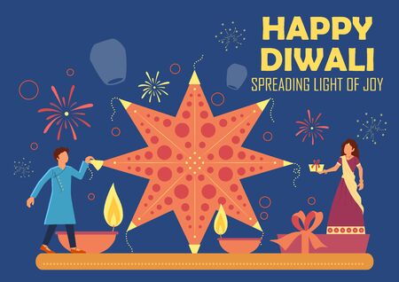 illustration of Indian people celebrating on Happy Diwali Hindu Holiday background for light festival of India Foto de archivo - 131317884