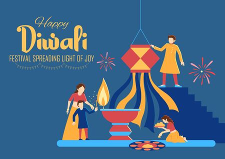 illustration of Indian people celebrating on Happy Diwali Hindu Holiday background for light festival of India Foto de archivo - 131317885