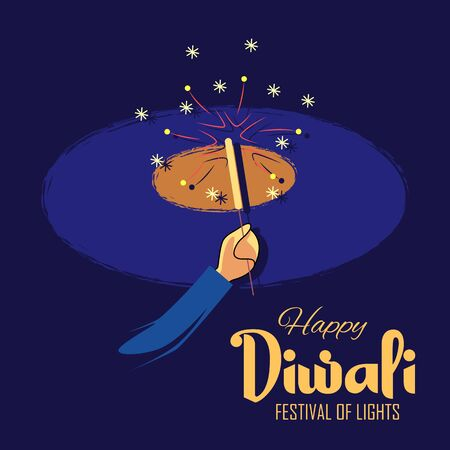 illustration of Indian people with fire cracker on Happy Diwali Holiday background for light festival of India Çizim