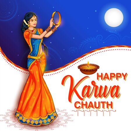 illustration of Indian woman performing Hindu married festival Karwa Cahuth looking moon through shieve
