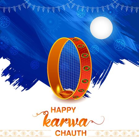 illustration of greetings for Indian Hindu festival Happy Karwa Chauth