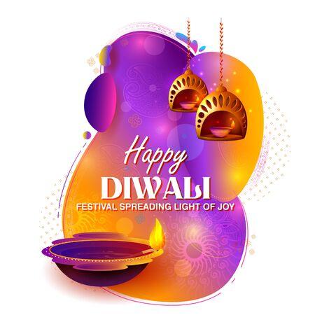 illustration of burning diya on happy Diwali Holiday background for light festival of India Çizim