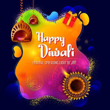 illustration of burning diya on happy Diwali Holiday background for light festival of India Vector Illustration