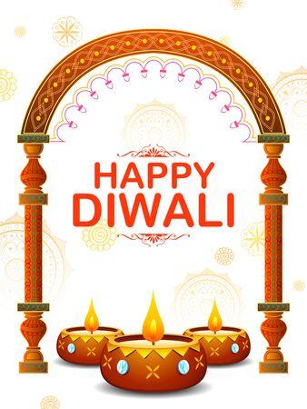 illustration of burning diya on happy Diwali Holiday background for light festival of India Ilustracja