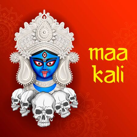 illustration of Goddess Kali Maa on Diwali Kali Pooja background of India festival Illustration