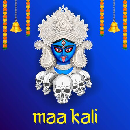 illustration of Goddess Kali Maa on Diwali Kali Pooja background of India festival Ilustração