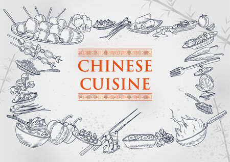 illustration of template of different types of Chinese Cuisine for menu background design of Hotel or restaurant Ilustracja