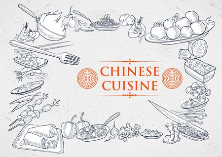 illustration of template of different types of Chinese Cuisine for menu background design of restaurant