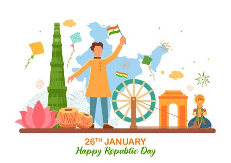 illustration of flat minimal simplistic background for 26 January Happy Republic Day of India