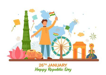 illustrazione di uno sfondo semplicistico minimale piatto per il 26 gennaio Felice Festa della Repubblica dell'India