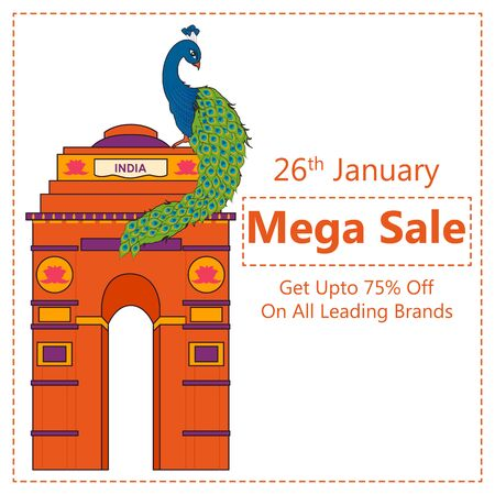 Sale Promotion Advertisement banner for 26th January, Happy Republic Day of India in vector background