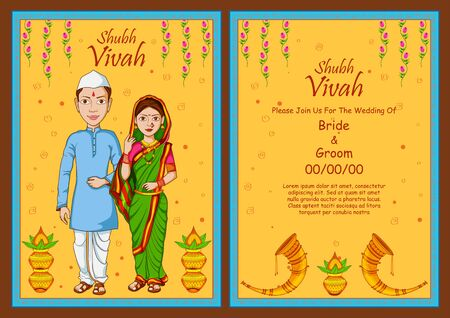 illustration of Maharashtrian couple on Indian Wedding invitation template background