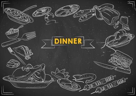 illustration of template of different types of Dinner item for menu background design of Hotel or restaurant