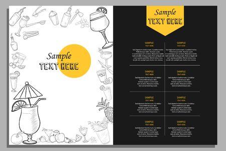 illustration du modèle de différents types de cocktails pour la conception d'arrière-plan du menu de l'hôtel ou du restaurant