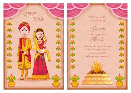 illustration of couple on Indian Wedding invitation template background