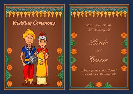 illustration of Mizoram couple on Indian Wedding invitation template background