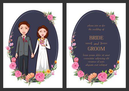 illustration of Christian couple on Indian Wedding invitation template background