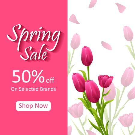 Beautiful fresh flower on floral spring sale background for advertisement and promotion banner Illustration