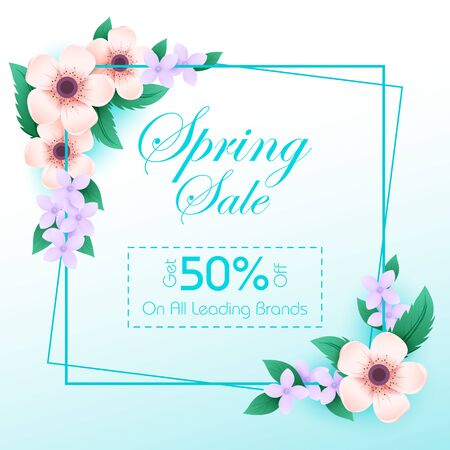 Beautiful fresh flower on floral spring sale background for advertisement and promotion banner in vector