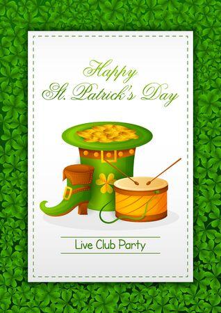 Happy Saint Patricks Day religious festival celebration background of Ireland in vector