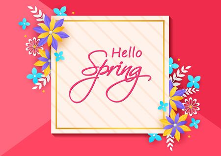 Beautiful fresh flower on floral spring background in vector