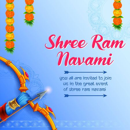 Lord Rama with bow arrow in Shree Ram Navami celebration for religious holiday of India