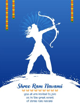 Lord Rama with bow arrow in Shree Ram Navami celebration for religious holiday of India