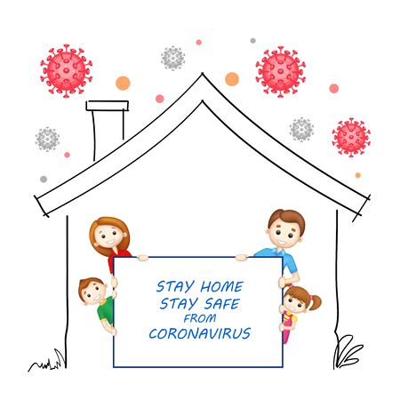 Illustration der medizinischen Vorbeugung vor dem tödlichen Ausbruch der neuartigen Coronavirus 19-Epidemie durch Stay Home Stay Safe