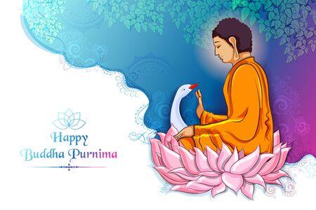 illustration of Lord Buddha in meditation for Buddhist festival of Happy Buddha Purnima Vesak Illustration