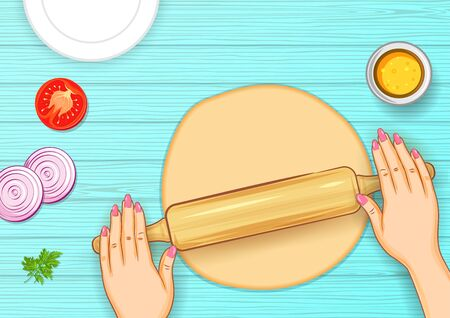 illustration of human hand rolling dough on wooden board for bread or pizza making