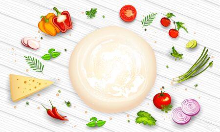 Illustration des Teigs mit anderen Zutaten Gemüse und Kräutern, die für Focaccia-Brot oder Pizza würzen