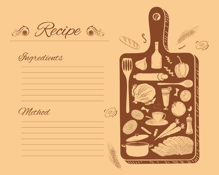 illustration of healthy and fresh fruit and vegetable with kitchen tools and utensil for home cooking