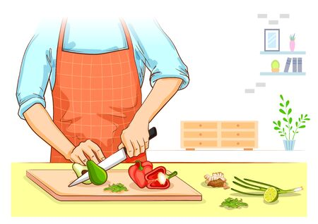 illustration of human hand chopping and cutting fresh vegetable for home cooking Illustration