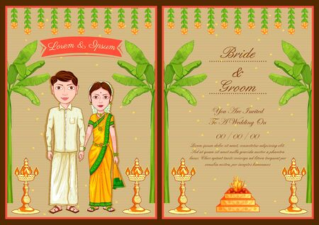 Illustration of South Indian couple on Indian Wedding invitation template
