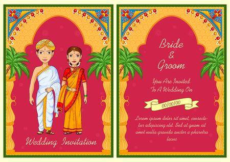 Illustration of couple on Indian Wedding invitation template