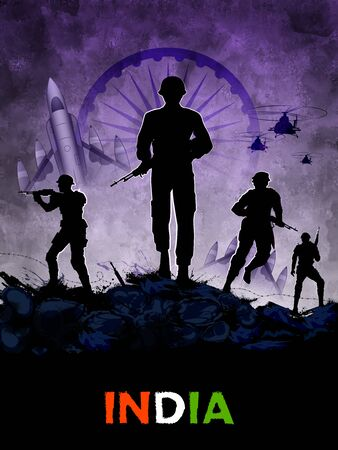 illustration of Indian Army soilder nation hero on Pride of India background
