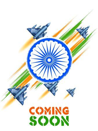 illustration of jet planes flying high on Indian tricolor flag background Vector Illustratie