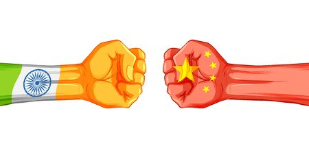 illustration of India vs China concept showing tension and confrontation in borders Vector Illustratie