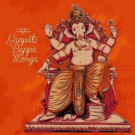 illustration of Lord Ganpati background for Ganesh Chaturthi festival of India with message meaning My Lord Ganesha Vektorové ilustrace