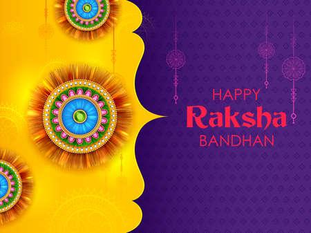 illustration of greeting card and template banner for sales promotion advertisement with decorative Rakhi for Raksha Bandhan, Indian festival for brother and sister bonding celebration 写真素材 - 151074893